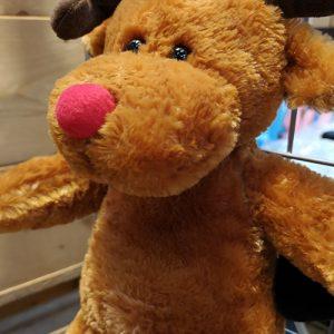 Køb en jule rensdyr bamse med rød næse og horn