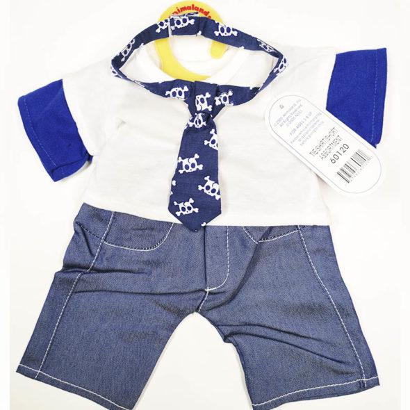 E tkomplet sæt tøj til din bamse med slips, t-shirt og bukser