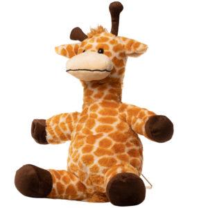 En giraf bamse set fra siden