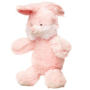 En lyserød kanin bamse set fra siden