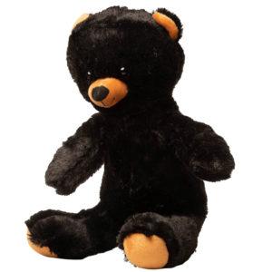 Sort bjørne bamse set fra siden